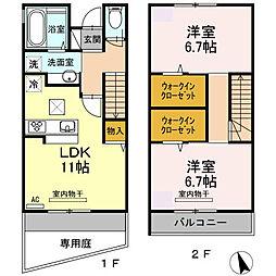 [テラスハウス] 広島県広島市東区温品7丁目 の賃貸【/】の間取り