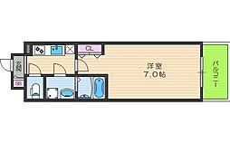 JR大阪環状線 福島駅 徒歩3分の賃貸マンション 6階1Kの間取り