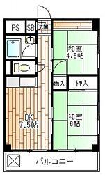 ミリカハイツ 5階2DKの間取り