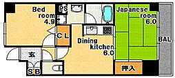 兵庫県神戸市兵庫区新開地2丁目の賃貸マンションの間取り