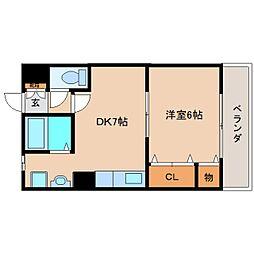 奈良県大和高田市有井の賃貸アパートの間取り