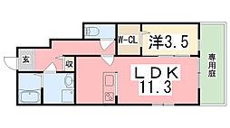 兵庫県姫路市土山7丁目の賃貸アパートの間取り