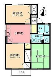 クレールA 1階3DKの間取り
