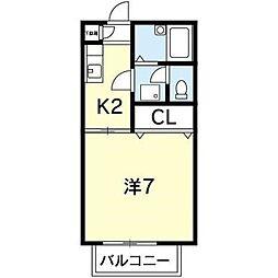 徳島県徳島市昭和町1丁目の賃貸アパートの間取り