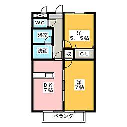 愛知県額田郡幸田町大字横落字向野の賃貸アパートの間取り