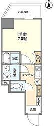 都営大江戸線 蔵前駅 徒歩7分の賃貸マンション 2階1Kの間取り