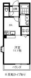 アーバニティIII 2階1DKの間取り