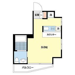 マリーナヨコハマプレミアム 7階1Kの間取り