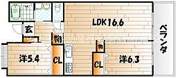木町賃貸マンション21棟[1階]の間取り
