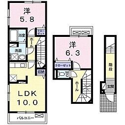 埼玉県越谷市大成町2丁目の賃貸アパートの間取り