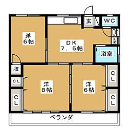 横山ハイツ[2階]の間取り