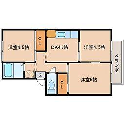奈良県大和郡山市新木町の賃貸アパートの間取り