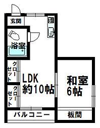 日南市サカモトコーポ 1階1LDKの間取り