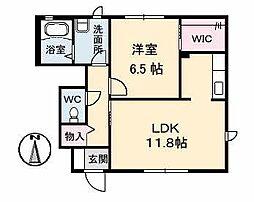 愛媛県松山市久保田町の賃貸アパートの間取り