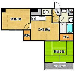 兵庫県神戸市兵庫区中道通5丁目の賃貸マンションの間取り