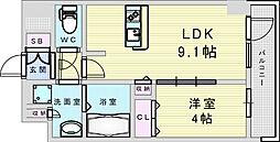 Osaka Metro御堂筋線 新大阪駅 徒歩8分の賃貸マンション 8階1LDKの間取り