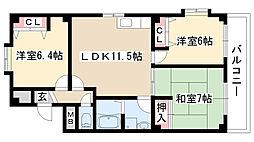 愛知県名古屋市天白区平針台1丁目の賃貸マンションの間取り