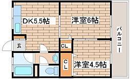 兵庫県神戸市須磨区白川台6丁目の賃貸アパートの間取り
