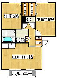 パークサイド西船[2階]の間取り
