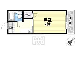 阪急千里線 関大前駅 徒歩7分の賃貸マンション 1階1Kの間取り