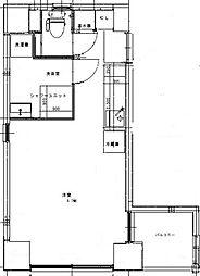JR山手線 御徒町駅 徒歩6分の賃貸マンション 7階ワンルームの間取り