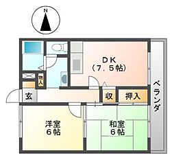 サンフローラM[1階]の間取り