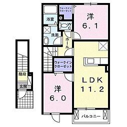 鹿児島県南さつま市加世田益山の賃貸アパート 2階2LDKの間取り