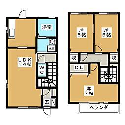 [テラスハウス] 三重県桑名市陽だまりの丘7丁目 の賃貸【三重県 / 桑名市】の間取り