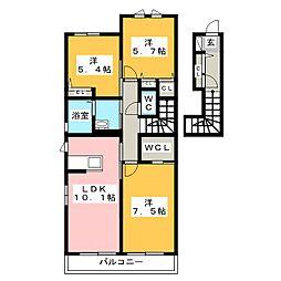 ビューコートM E棟[2階]の間取り