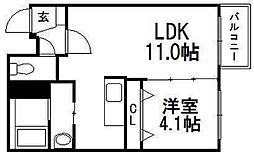北海道札幌市豊平区豊平八条9の賃貸マンションの間取り