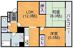 Osaka Metro谷町線 長原駅 徒歩3分の賃貸マンション 3階2LDKの間取り