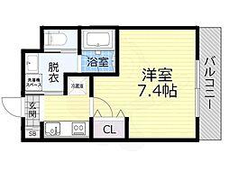 JR大阪環状線 大阪城公園駅 徒歩10分の賃貸マンション 1階1Kの間取り