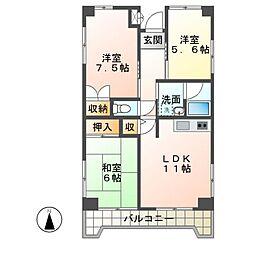 砂サンシャインシティ三番館[8階]の間取り
