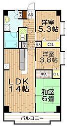 埼玉県和光市丸山台2丁目の賃貸マンションの間取り
