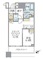 JR山手線 目黒駅 徒歩2分の賃貸マンション 9階1LDKの間取り
