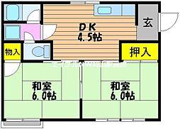 岡山県岡山市北区大元駅前の賃貸アパートの間取り