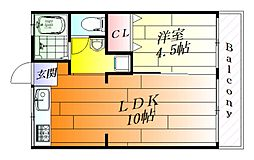 永田ハイツ[2階]の間取り