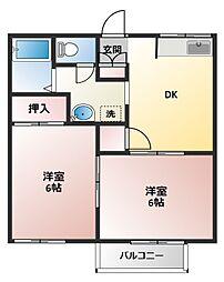 大黒屋ハイツ5番館(ダイコクヤハイツ5バンカン)[2階]の間取り