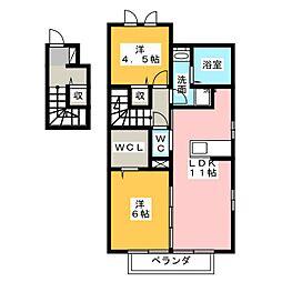 静岡県沼津市下香貫汐入の賃貸アパートの間取り