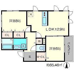 ビューハイツA[2階]の間取り