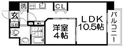 Osaka Metro四つ橋線 肥後橋駅 徒歩3分の賃貸マンション 9階1LDKの間取り