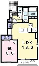 静岡県磐田市森下の賃貸アパートの間取り