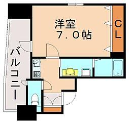 福岡市地下鉄七隈線 渡辺通駅 徒歩3分の賃貸マンション 8階1Kの間取り