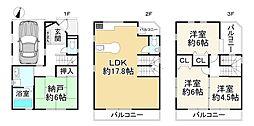 東淀川区小松5丁目 中古戸建 3SLDK 3SLDKの間取り