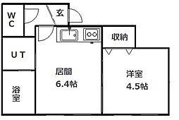 札幌市営南北線 真駒内駅 徒歩7分の賃貸アパート 1DKの間取り