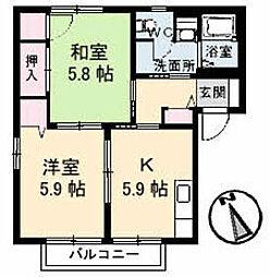 セレクトハウス[A202号室]の間取り