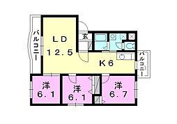 ボヌールレジデンスA棟[305 号室号室]の間取り