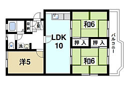 奈良県奈良市四条大路1丁目の賃貸マンションの間取り
