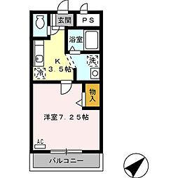 愛知県安城市池浦町池田上の賃貸マンションの間取り