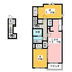 愛知県豊川市大崎町野添の賃貸アパートの間取り